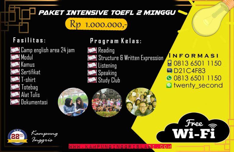 Paket Intensive TOEFL 2 Minggu