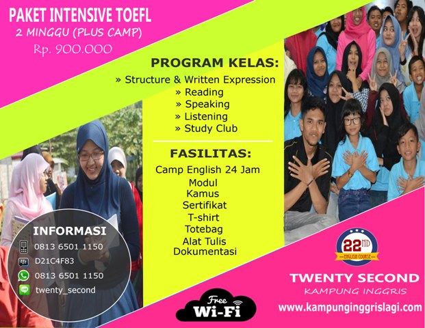 INTENSIVE TOEFL 2 MINGGU PLUS CAMP