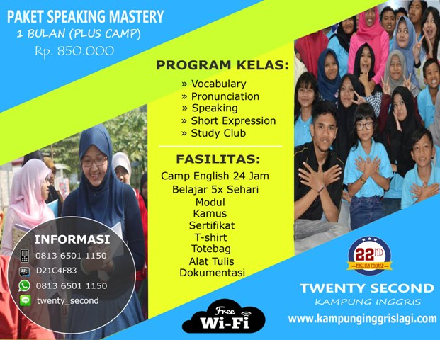 Speaking Mastery 1 Bulan (Plus Camp)