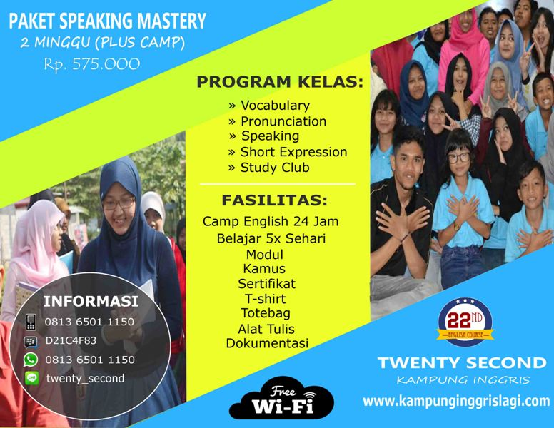 Speaking Mastery 2 Minggu (Plus Camp)