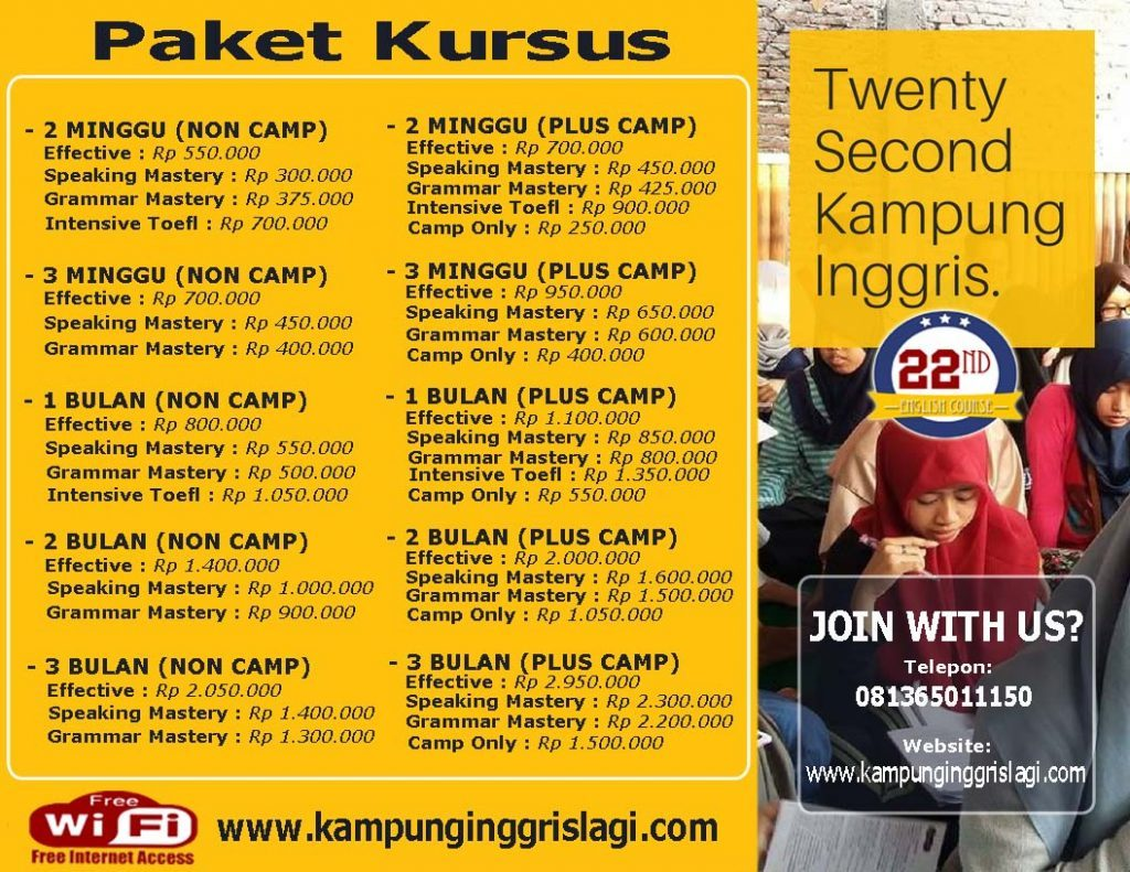 info pendaftaran twenty second kampung inggris
